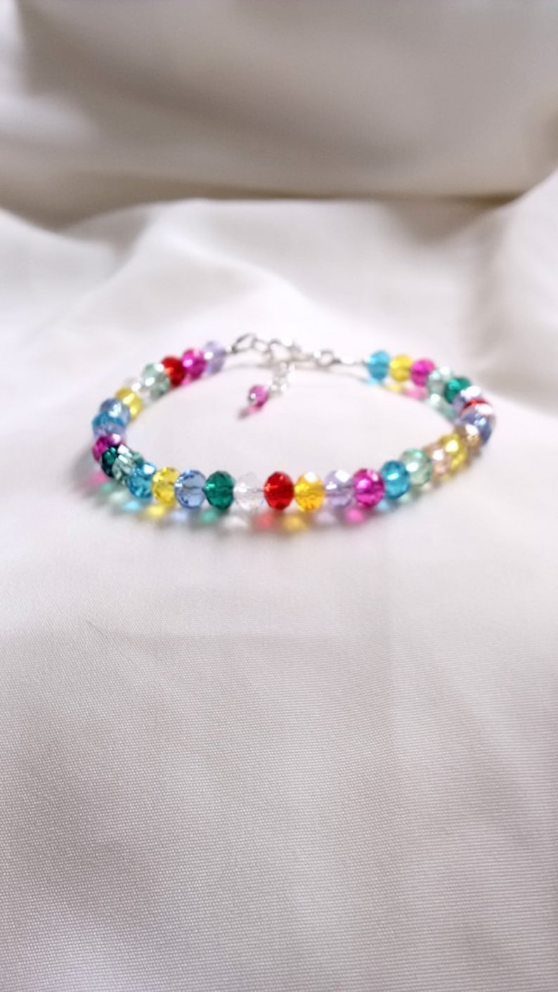 Crystal Anklet Hippy Boho Anklet Coulours of the Rainbow Crystal Anklet