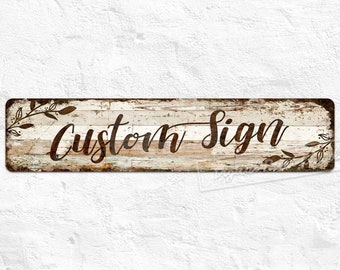Personalized Metal Sign, Custom Sign, Rustic Wood Style Metal Sign, Home Decor, Farmhouse, Garden, Outdoor, Personalised Gifts