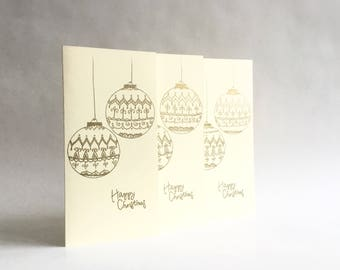 Set of 3 Christmas Cards, Christmas Baubles, Golden Baubles, Season's Greetings Card, Hand Drawn Christmas Card, Golden Christmas Card