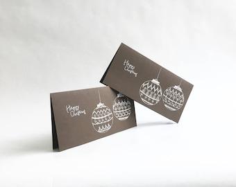 Set of 2 Christmas Cards, Christmas Baubles, Season's Greetings Card, Hand Drawn Christmas Card, Christmas Greetings, Brown Christmas Card