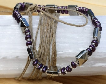Purple and Silver Double Strand Punk Bracelet