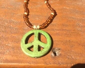 Green Peace on Brown Beaded Chain