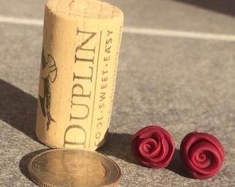 Wine Rose Bud Studs