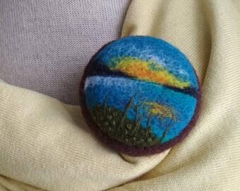 Miniature landscape Needle felted brooch Gift idea for her Round brooch Wool landscape pin Felt flower pin Colored brooch Meadow flowers
