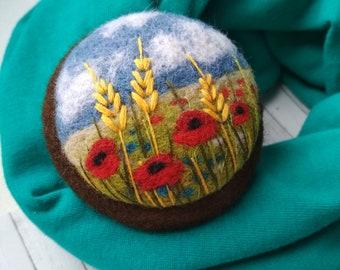 Red flower woman brooch Needle felt jewelry Beautiful flower wool painting Flower lapel pin Dress brooch Summer time