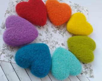 Needle felted rainbow hearts Valentine's day gifts Heart decor Love gift for her Rainbow decor Lucky heart Colorful hearts