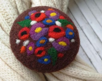 Rustic style teacher gift Original design Best friend gift Mothers day gift  Girlfriend gift Original art for her jewelry Felted brooch