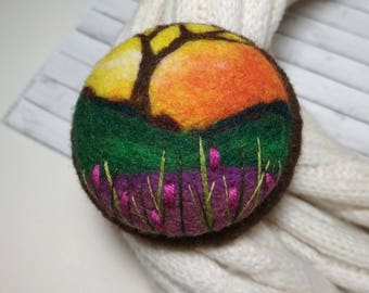 Mom gift Needle felted pink flower brooch Gift ideas Sping jewelry Woman brooch Flower pin Grandmothers gift Sunset jewelry Tree brooch