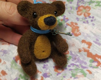 Her birthday original gift bear Animal bear gift Felt bear Wool felt  toys Christmas gift Her cute gifts