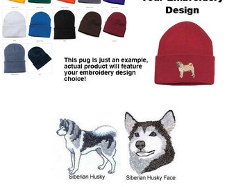 1554a54c475 Siberian Husky Personalized Embroidered Knit Cap