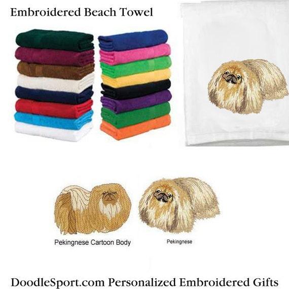 Embroidered Pekingese Beach Towel