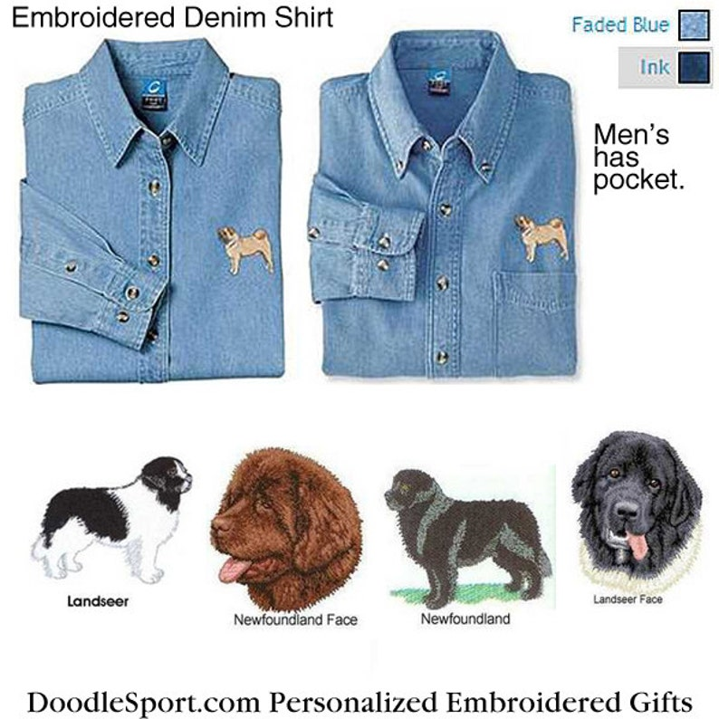 Sizes XS thru XL Beagle Embroidered Denim Shirt