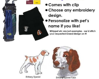 Brittany Spaniel Golf Towel - Personalized - Embroidered