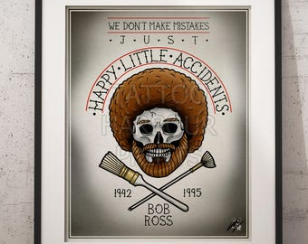Bob Ross - Happy Little Accidents, Traditional Tattoo Parlour Prints by Tattoo Harbour Prints