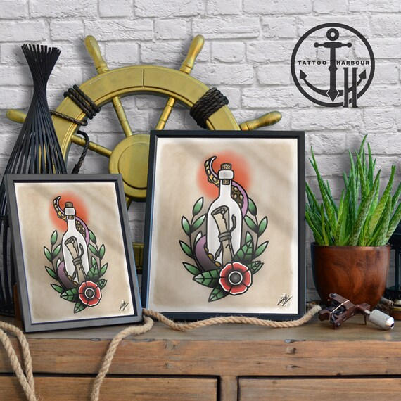 Message In A Bottle Traditional Tattoo Flash Art Poster Etsy