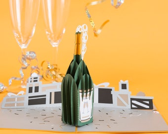 Champagne Celebration 3D Birthday Card, Champagne Celebration Pop up New Year's Card, Promotion Champagne Celebration Pop up 3D Card