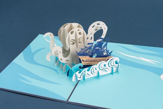 Kraken Pop Up Birthday Card Happy Birthday Card Kraken Ship Etsy