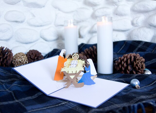 Manger Scene Pop Up Christmas Card, Manger Scene Card, Nativity Pop Up Card, Nativity Christmas, Baby Jesus, Birth of Christ, Manger