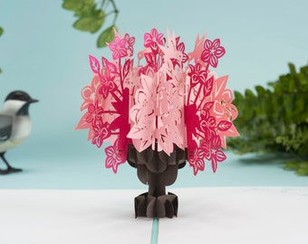 Floral Bouquet Pop up Card, Mother's Day Card, Thank You Card, Get Well Soon, Flowers Pop up Card, Pink Spring Flowers Card, 3D Floral Card