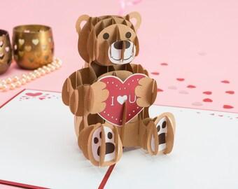 Love Bear Pop up Card, Love Bear Valentine's Day Card, Anniversary Card, 3D Pop up Bear Card, Bear with Heart Pop up Card, I Love You Card