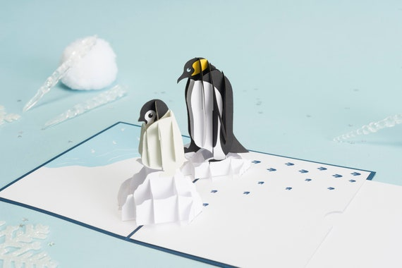 Penguin Pop Up Birthday Card Penguin Birthday Card Bday Etsy