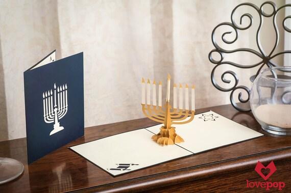 Hanukkah menorah pop up card happy hanukah card hebrew card etsy image 0 m4hsunfo