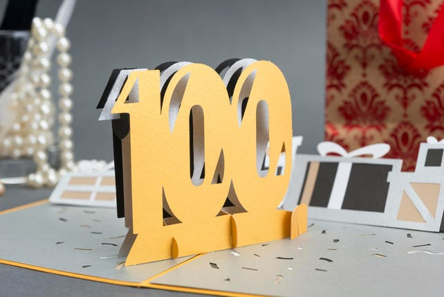 100th Birthday Celebration Pop up Card, 100th Anniversary Pop up Card, One Century 3D Card, Happy 100 Birthday Card, Company/Corporate Card