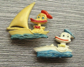 Duck Lapel Pin Vintage Duck Pin Pins for Kids Pins for Collectors Boat Pin Duck Brooch Collectible Badges