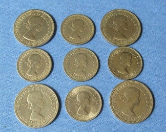 One Shilling Coins, Six Pence Coins, British Coins, UK Collectible Coin, Vintage UK Coin, United Kingdom Coin, Jewelry Coins