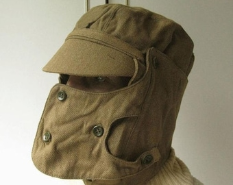 Vintage Military Hat, Authentic Hat, War Memorabilia, Afganistan Era, USSR Military, Officers Cap, Cap with Mask, Steampunk Gas