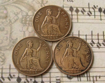 1938 One Penny Coins, British Coins, UK Collectible Coin, Vintage UK Coin, United Kingdom Coin, Jewelry Coins