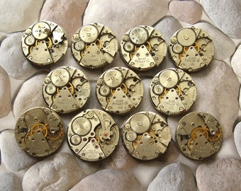 "1"" Set of 11 watch movements, Small Watch Movements, Steampunk Supplies, Watch Movements for Parts, Antique Watch Parts, Flea Market Finds"
