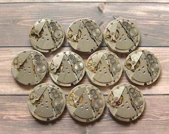10 pcs Watch Movements, Small Watch Movements, Steampunk Supplies, Watch Movements for Parts, Antique Watch Parts