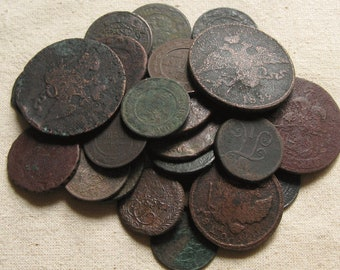 Antique Coins for Handmade Projects, Craft Supplies,  Steampunk Coins, Excavated Coins, Vintage Copper Coins, Antique Objects