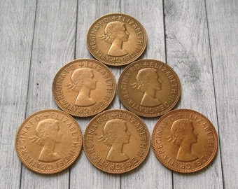 British Coins, One Penny Coins, UK Collectible Coin, Vintage UK Coin, United Kingdom Coin, Jewelry Coins