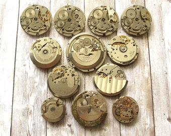 12 pcs Assorted Watch Movements, Small Watch Movements, Steampunk Supplies, Watch Movements for Parts, Antique Watch Parts