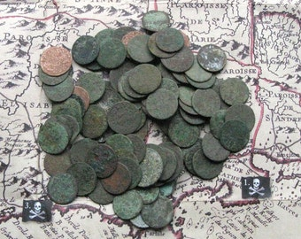 Small Antique Coins for Handmade Projects, Craft Supplies,  Steampunk Coins, Excavated Coins, Vintage Copper Coins, Coins with Patina
