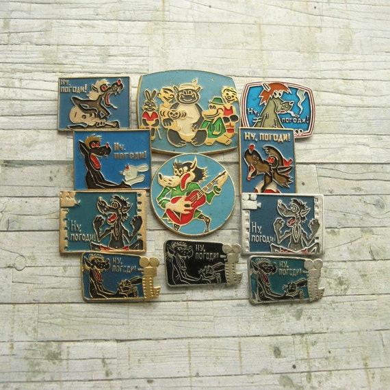 Badge for Collectors Steel Badge Soviet Vint Cartoon Badges Vintage Nu Pogodi Pin Soviet Animation Pins Collectible Badge