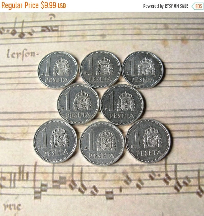 Vintage Spain Coins, Coins from Spain, World Coins, 1 Peseta Coins, Spain  Currency, European Coins, Spain Jewelry