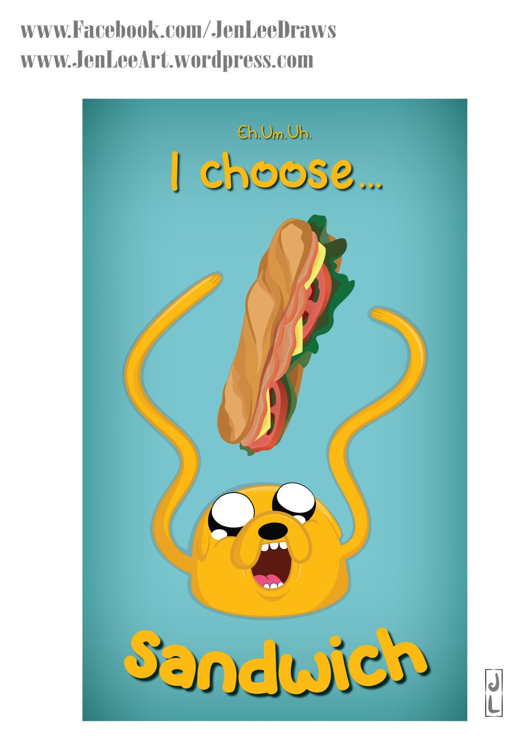 Adventure Time Jake Poster Print I Choose Sandwich Etsy