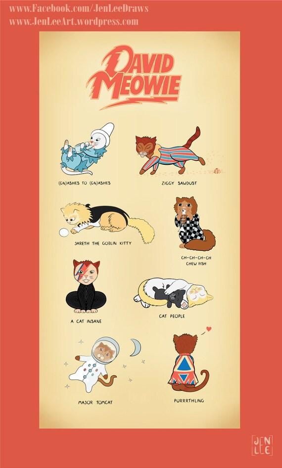 David Bowie Cat Puns Art Print \'David Meowie\' Cute