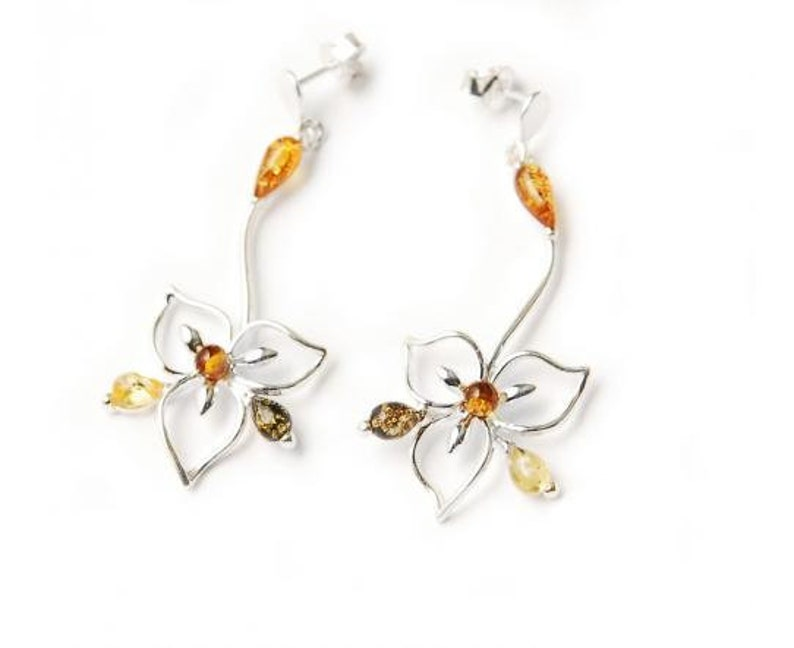 Baltic Amber /& Sterling Silver Pendant and Earrings Set