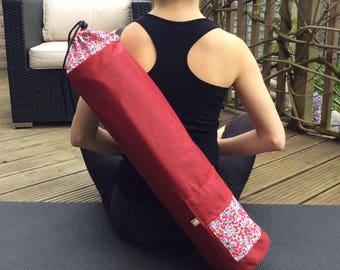 Liberty Yoga mat bag, Pilates mat bag, holder for exercise  roll, fitness mat holder, waxed cotton
