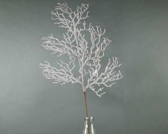 Artificial Frosted Pine Tree Branch Spray 77 cm Winter Greenery Stem Vase Filler