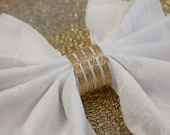 SILVER XMAS DINNER WEDDING PACK OF 6 CUT OUT DESIGN METAL NAPKIN RINGS GOLD