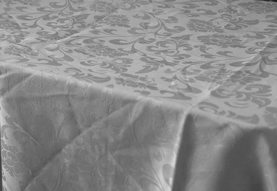Silver Tablecloth Christmas Damask Rectangular Dining Chair Etsy