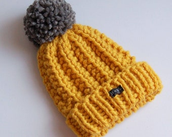 Mustard yellow and grey bobble hat with extra large pom pom. Womens or mens thick chunky knit HoBo Handmade hand knitted beanie in acrylic