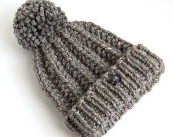 Mens Bobble Hat Charcoal/Dark GreyTweed. Thick chunky hand knitted beanie. Large removable pom pom. HoBo. Textured gray wool blend