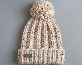 HoBo 'Lofty' mens handmade bobble hat. Thick chunky hand knit beanie, large removable Pom Pom. Oatmeal beige tweed wool blend
