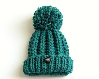 Teal blue/green toddlers pom pom bobble hat. HoBo Handmade toddlers chunky knit beanie. Wool blend. Extra large pom pom. Toddler boys/girls